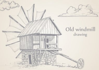 Old windmill drawing