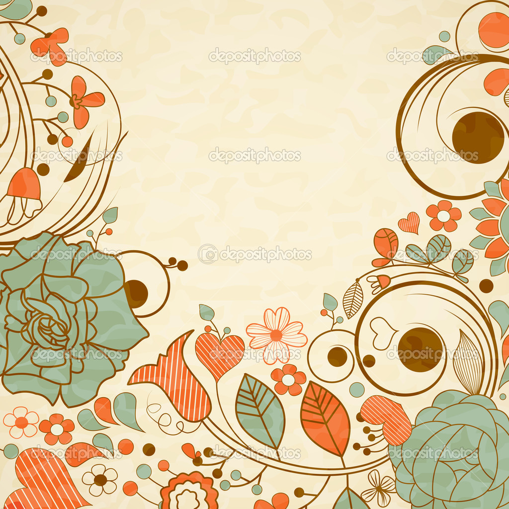 Old paper background floral frame stock vector for Paginas decoradas