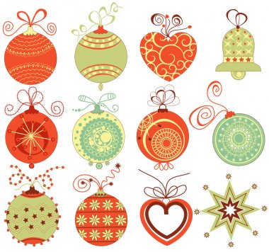 Retro Christmas ornaments set in traditional colors