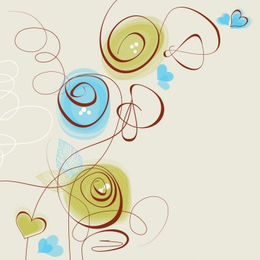 Stylish vector flowers and hearts romantic decoration