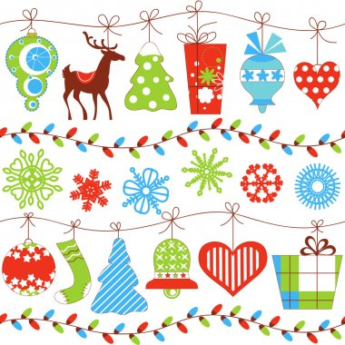 Christmas seamless pattern over white