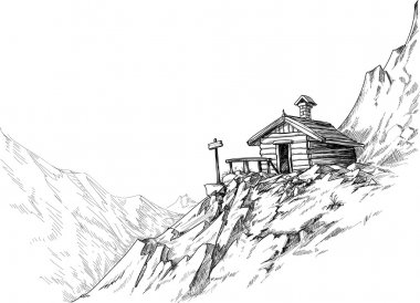 Mountain hut sketch stock vector
