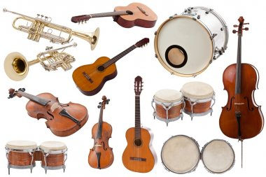 Musical instruments collection on white background stock vector