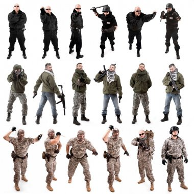 Collage,various military soldier poses , isolated in white stock vector