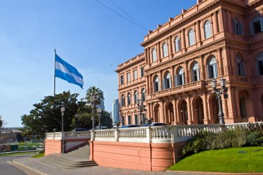 Casa Rosada and flag in Argentina