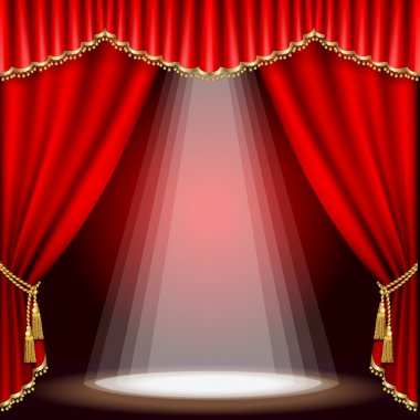 Theater stage with red curtain. Clipping Mask. Mesh. stock vector
