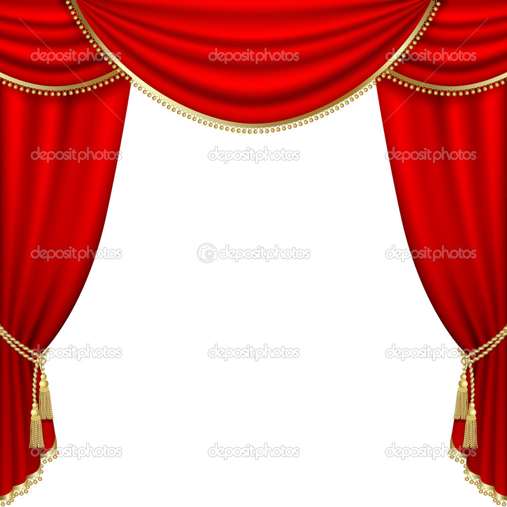Green stage curtains - Theater Stage Mesh Vector Graphics