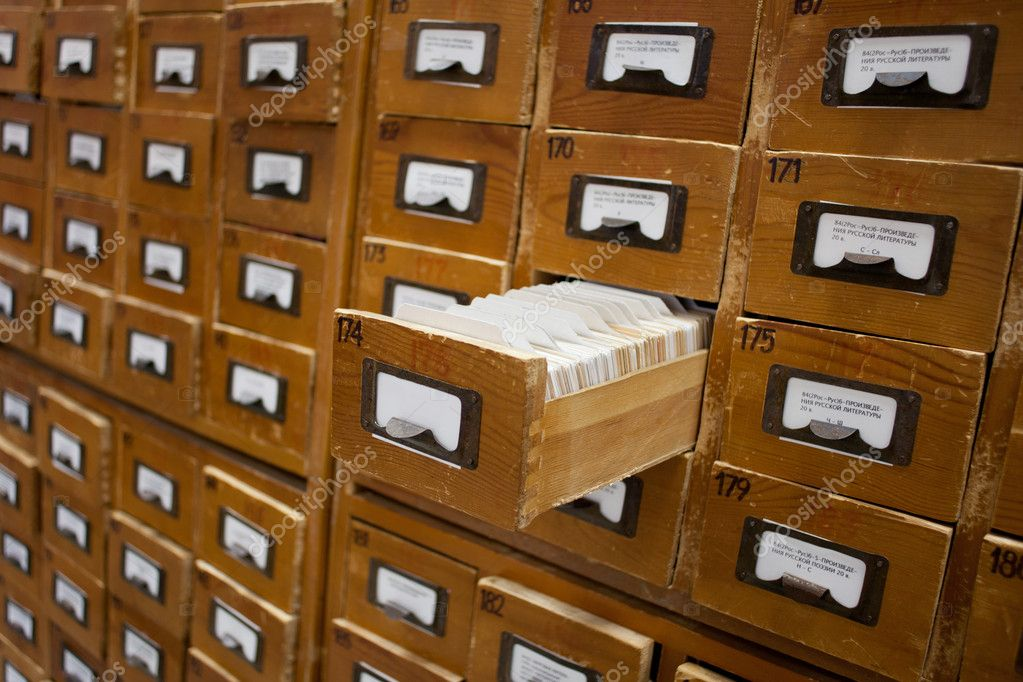 Фотообои на заказ - old wooden card catalogue with one opene.