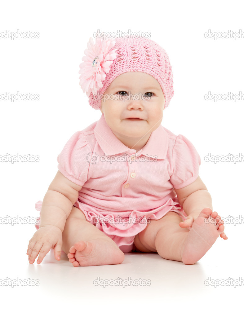 little cute baby-girl in pink dress isolated — stock photo