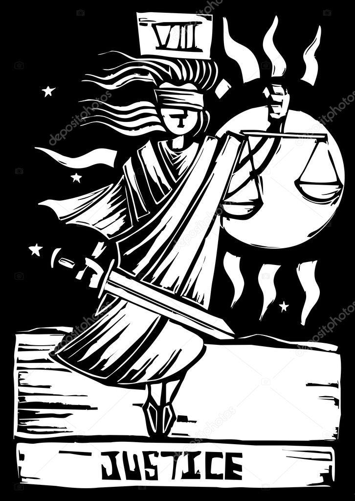Tarot Card Justice — Stock Vector © xochicalco #7193361