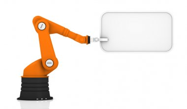 Robotic arm holding tag