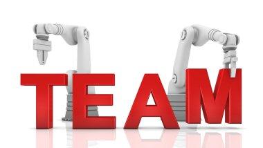 Industrial robotic arms building TEAM word