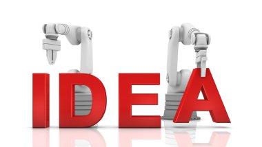 Industrial robotic arms building IDEA word