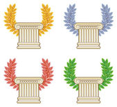 Photo Gold, silver, bronze and green laurel wreath with a Greek column
