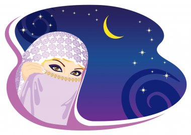 Muslim woman and arabian night.