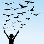 Kind lernt fliegen, Illustration mit Kind und Vögeln