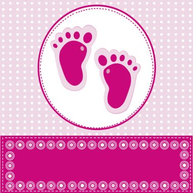 Baby girl greeting card with foot steps