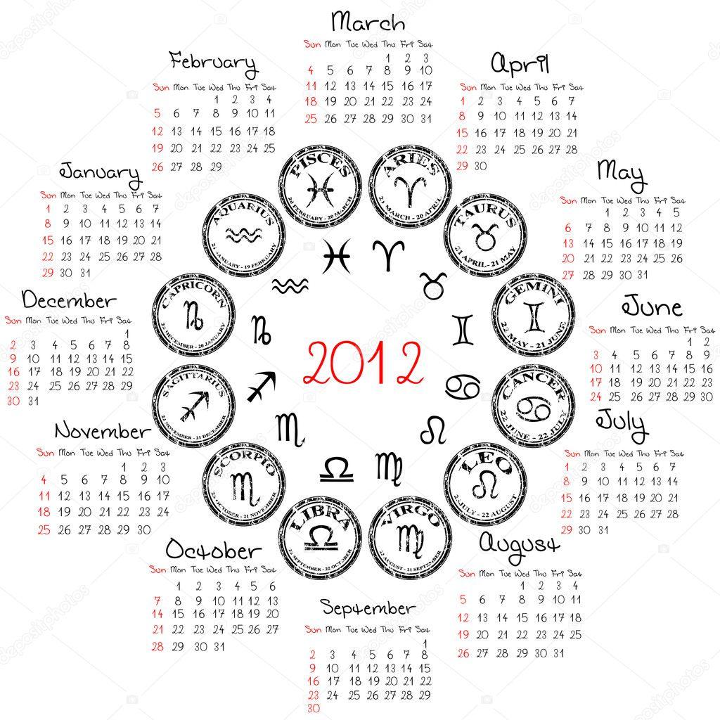 Calendario Segni.Calendario 2012 Con I Segni Zodiacali Foto Stock