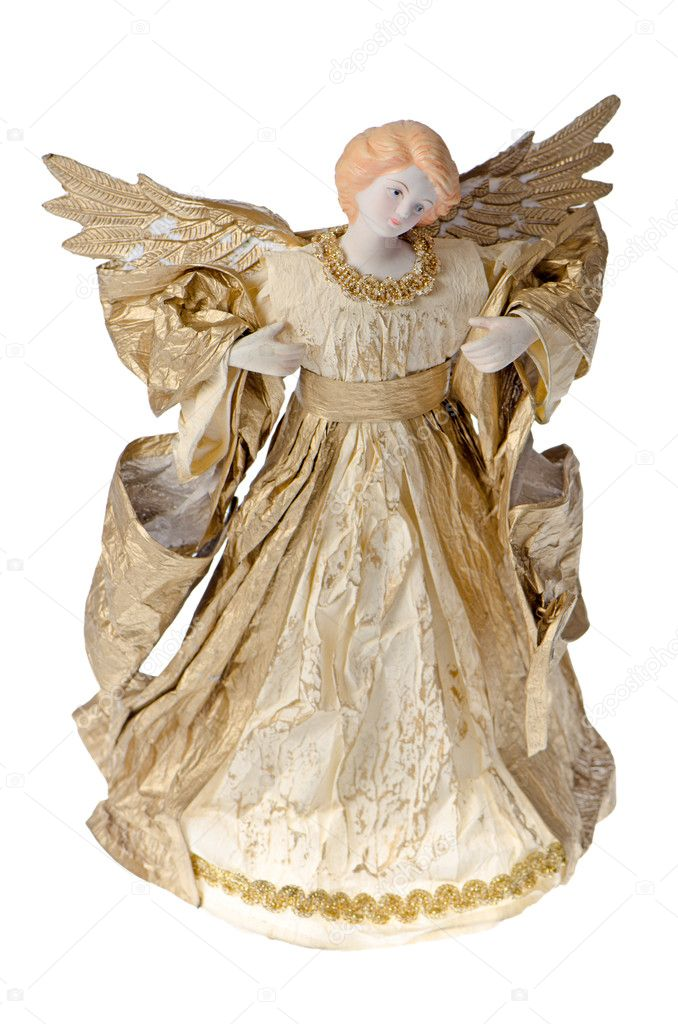 Angel papper staty av en guld ängel isolerad på vit bakgrund — Foto av  homydesign 8707aecec2eb8