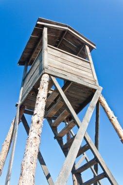 Wooden watchtower in prison camp