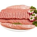 흰색 뒷면에 고립 된 접시에 살라미 햄 고기 등 — 스톡 사진 ...