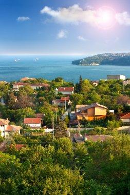 Beautiful sea landscape.View from Varna towards Galata,Bulgaria stock vector