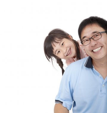 Happy father and girl.Asian family lifestyle