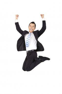 Happy businessman jumping and isolated on white background stock vector