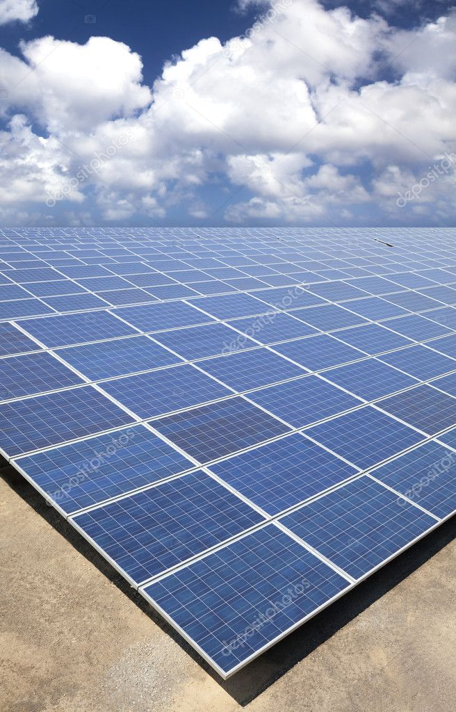 Solar Panels with cloud sky background