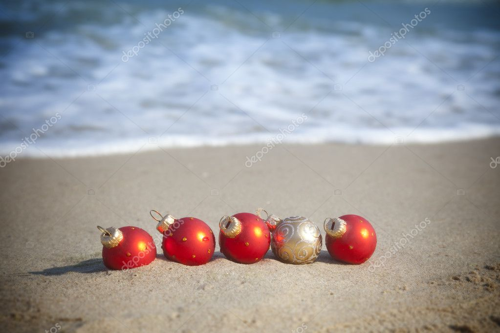 Christmas holiday / Baubles on the tropical beach