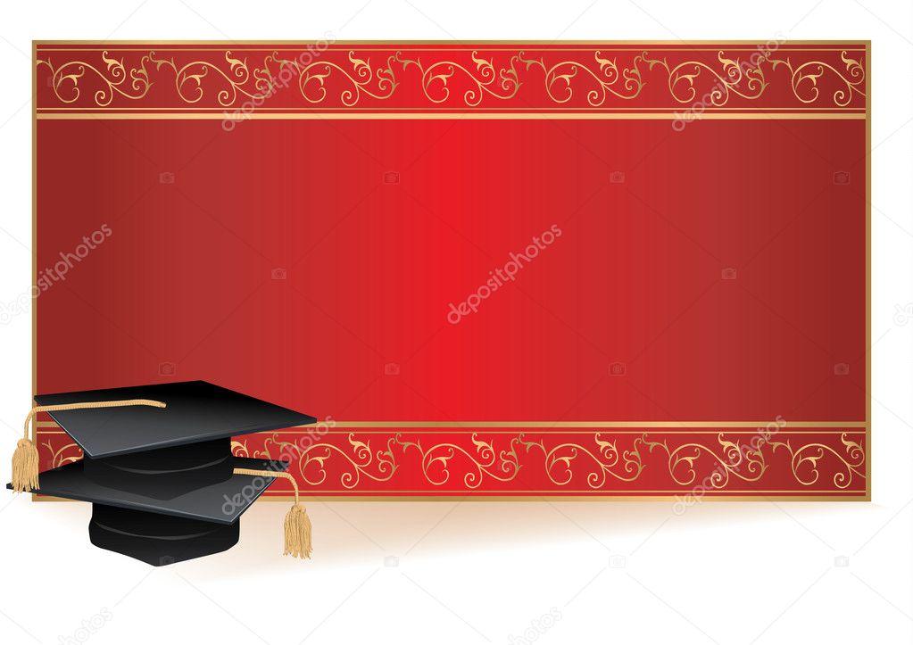 Carte D Invitation Avec Des Mortiers De Graduation Image