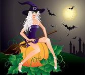 Fotografie schöne sexy Hexe. Halloween-Karte. Vektor-illustration
