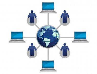 Global Computer Network blue