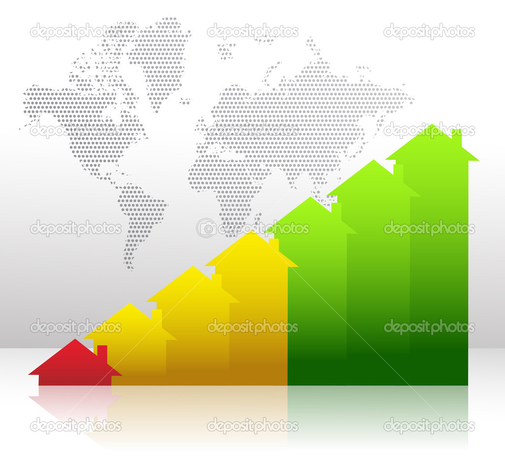 Graph showing financial real estate growth illustration
