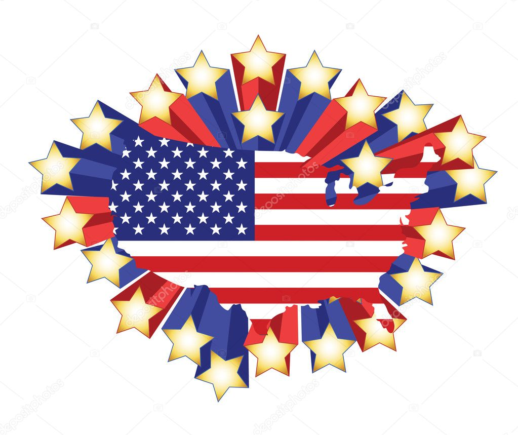 US Flag Map And D Stars Illustration Design Stock Photo - Stars map from us