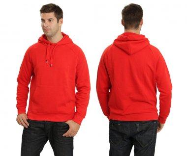 Male wearing blank red hoodie