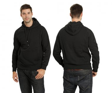 Male wearing blank black hoodie