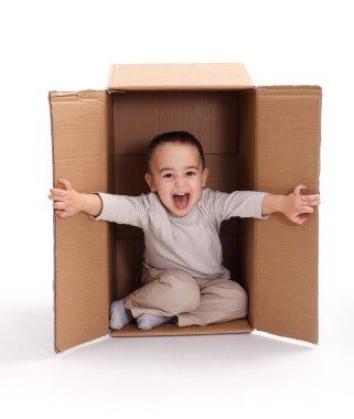 Happy little boy sitting inside cardboard box, opening stock vector