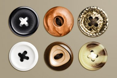 Highly detailed set of buttons