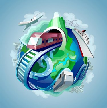 Globe with four types of transport for travelling moving around it stock vector