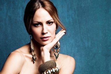 Woman with oriental jewelry