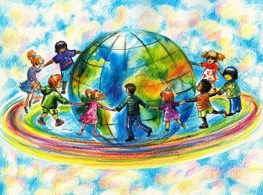 Children of different races hugging the planet Earth.Picture I have created myself with colored pencils. stock vector