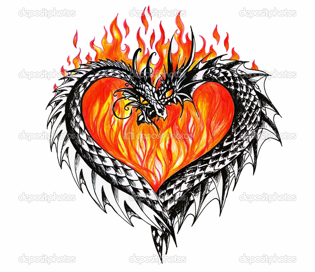 Corazones Con Alas Para Dibujar A Lapiz dragons — stock photo © deepgreen #7783381