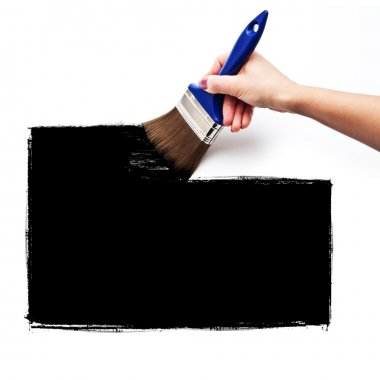 Brush paint a black square