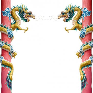 Twin Chinese Dragon Wrapped around red pole on White