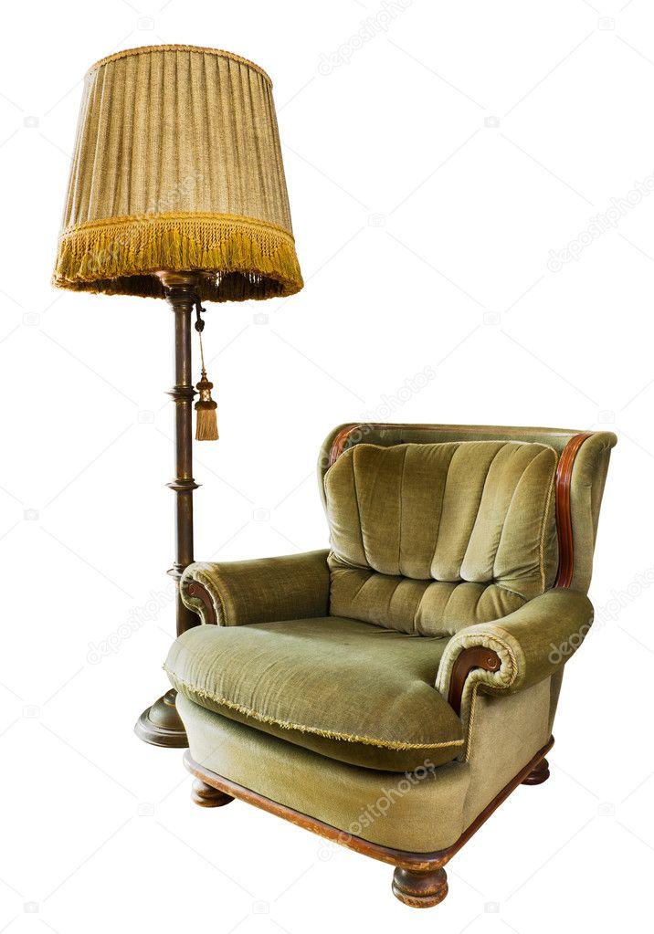 Luxus sessel  Luxus-Sessel mit Stehlampe auf weiß — Stockfoto #7134308