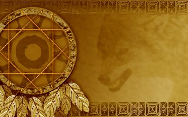 American dreamcatcher with wolf
