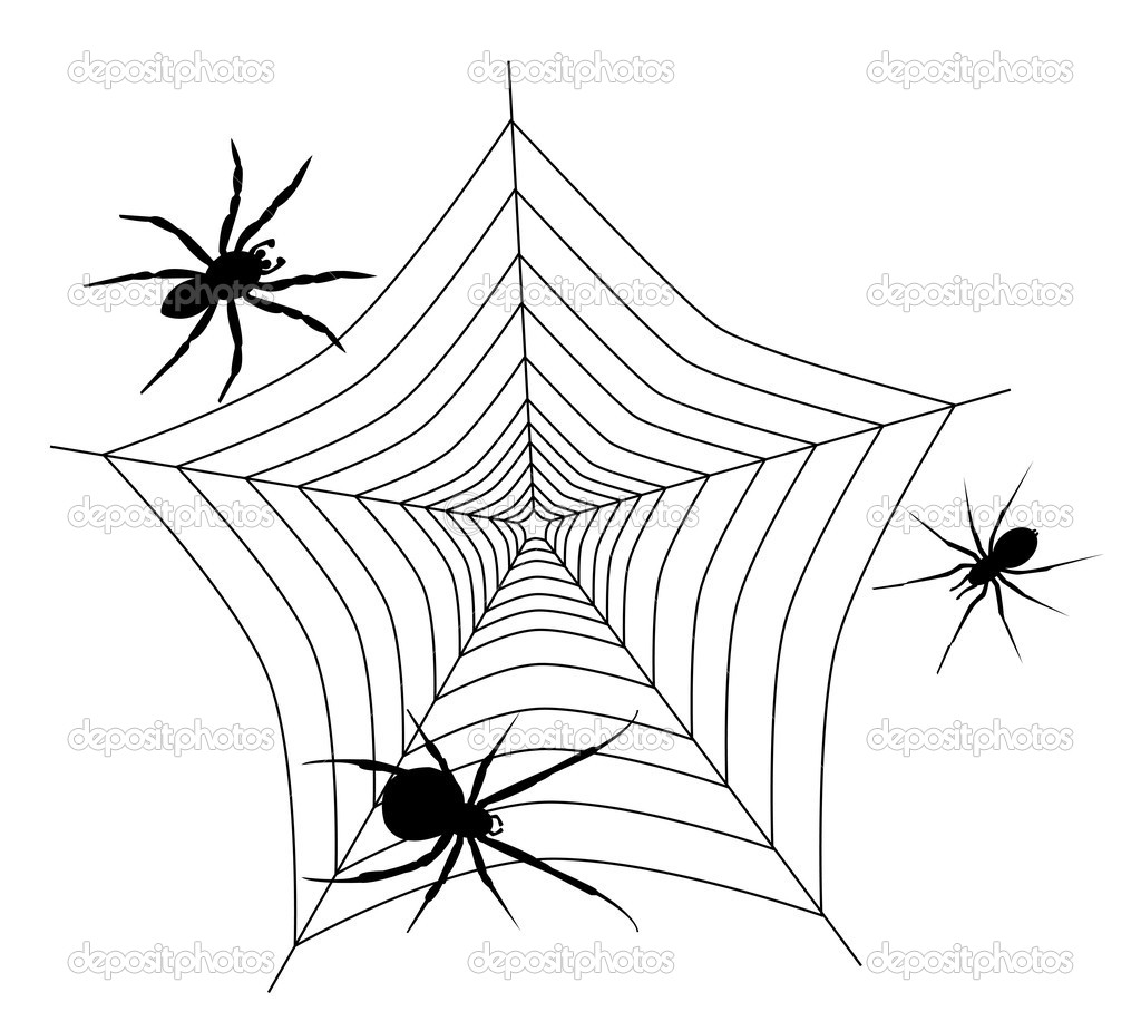tela de araña con tres arañas — Vector de stock © sateda #7110224