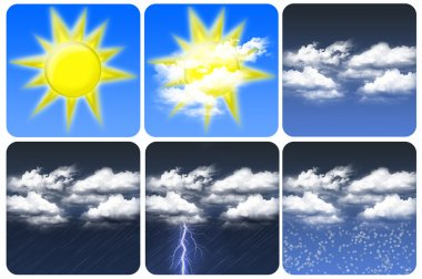 Weather icon of sun, cloudy, rain and snow stock vector
