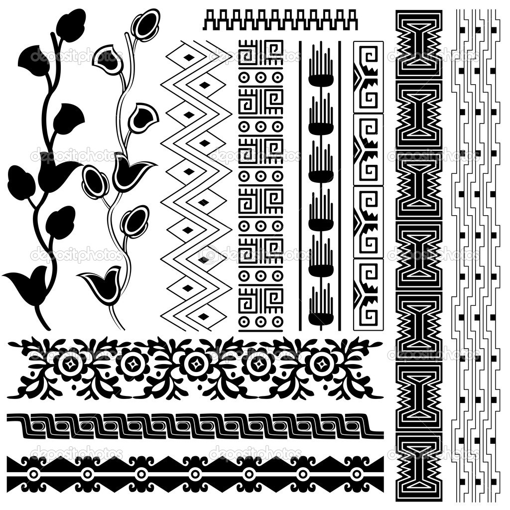 Ancient America ornaments on white